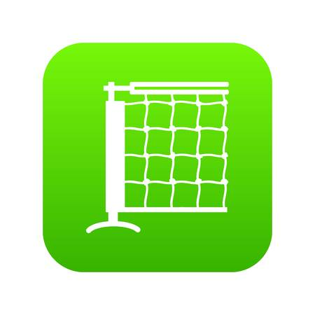 Tennis net icon green vector isolated on white background