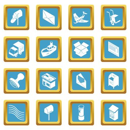 Poste service icons set vector sapphirine square isolated on white background  Stock Illustratie