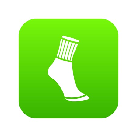 Sock icon green vector isolated on white background