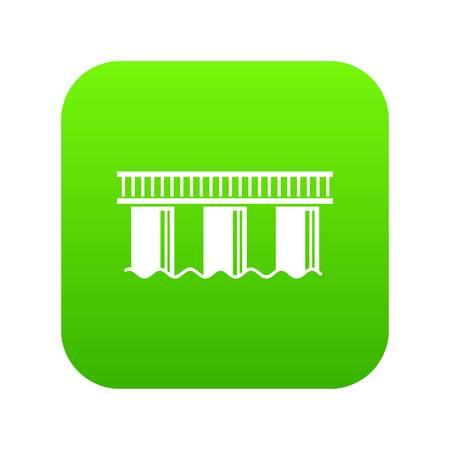 Urban bridge icon green vector