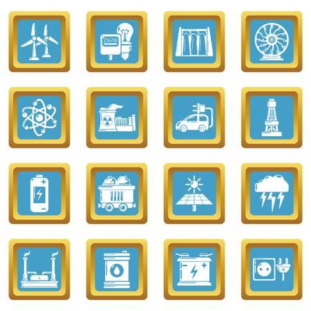 Energy sources icons set sapphirine square vector Illustration