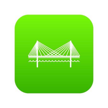 Bridge icon green vector isolated on white background