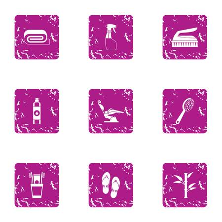 Womanish icons set. Grunge set of 9 womanish vector icons for web isolated on white background.