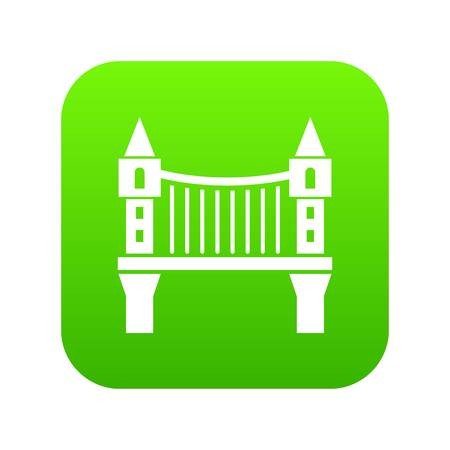 Tower bridge icon green vector isolated on white background.