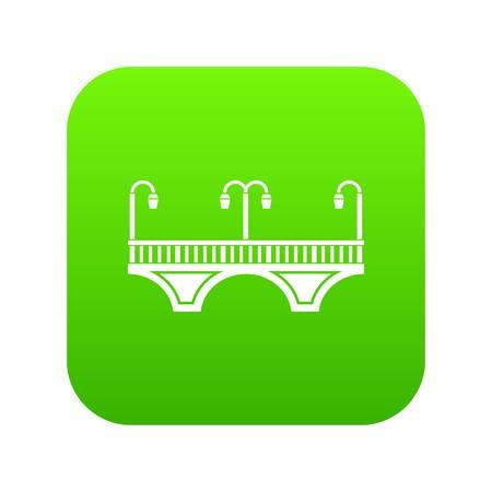 Retro arch bridge icon green vector Illustration