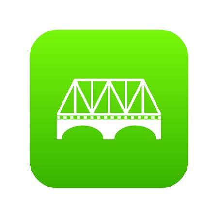 Railway arch bridge icon green vector