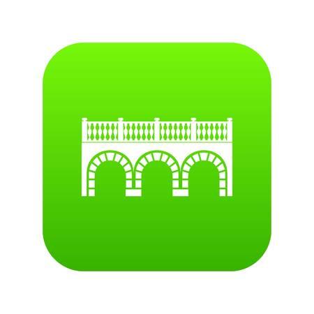 Arch bridge icon green vector