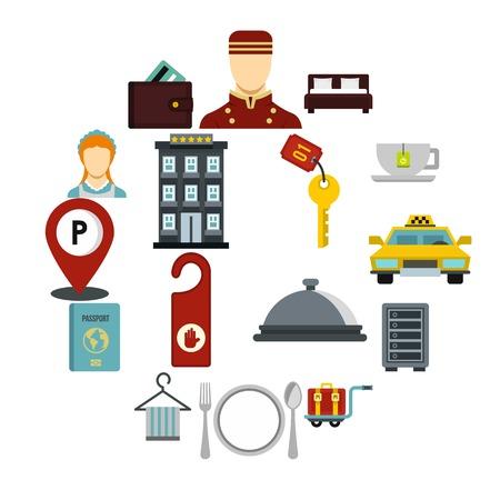 Hotel icons set, flat style 向量圖像