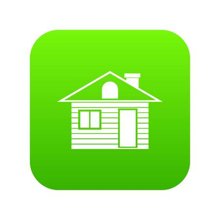 Wooden log house icon digital green