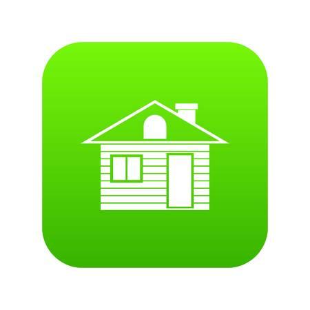 Wooden log house icon digital green