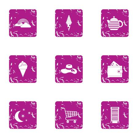 Convenience store icons set, grunge style