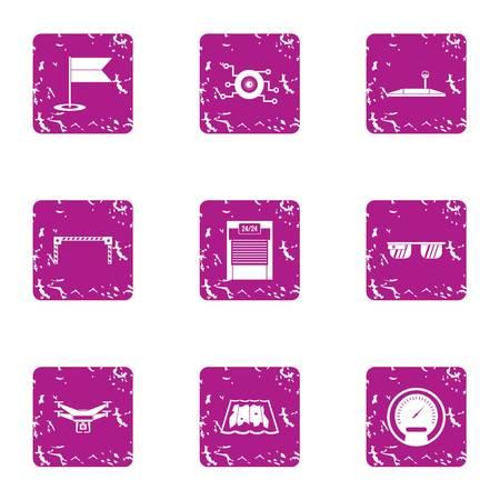Latest technology icons set, grunge style