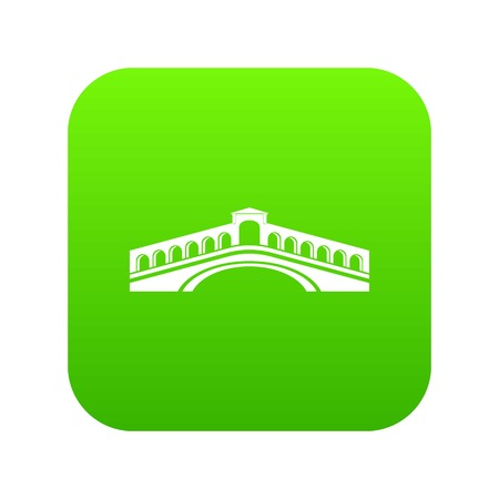 Rialto bridge icon green vector