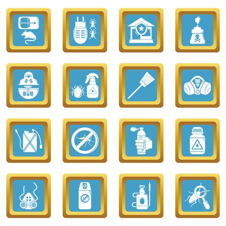 Pest control tools icons set sapphirine square vector