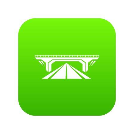 Concrete bridge icon green vector Illustration