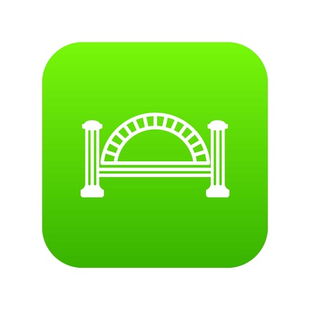 Metallic bridge icon green vector