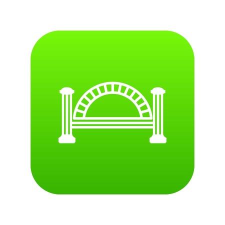 Metallic bridge icon green vector