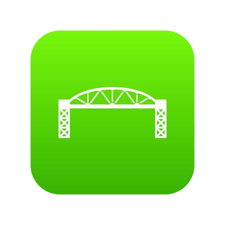 Metal bridge icon green vector