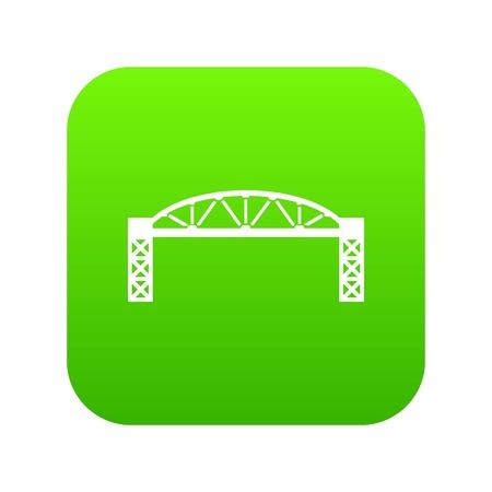 Metal bridge icon green vector