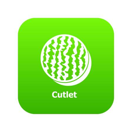 Cutlet icon green vector Illustration