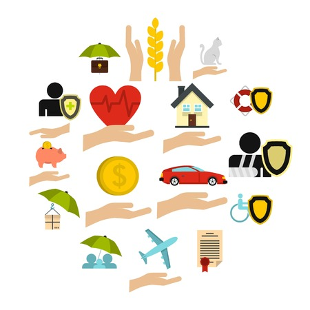 Insurance icons set. Flat illustration of 16 insurance vector icons for web