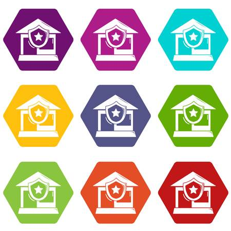 House protection icons 9 set coloful isolated on white for web