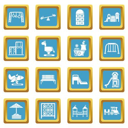 Playground equipment icons set sapphirine square vector Ilustrace