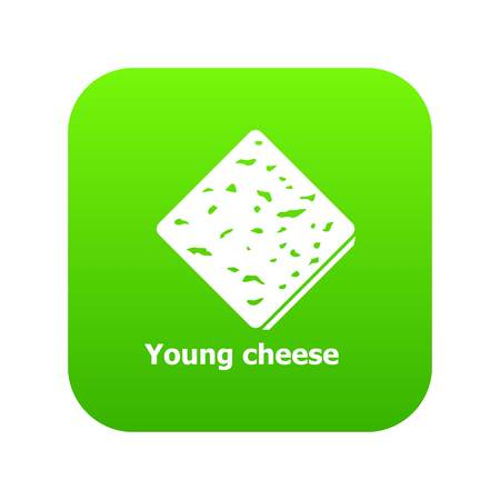 Cheese icon green vector Illustration