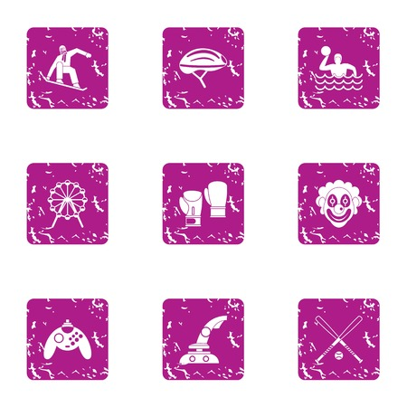 Game dependency icons set. Grunge set of 9 game dependency vector icons for web isolated on white background. Illustration