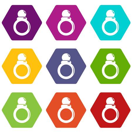 Ring icons 9 set colourful isolated on white for web. Illustration