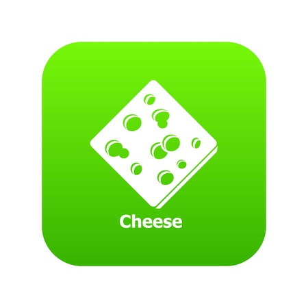 Sliced cheese icon green vector