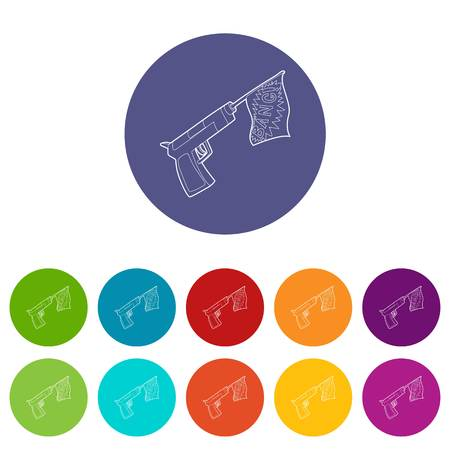 Gun with flag toy icon, outline style