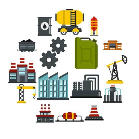 Industry set icons in flat style isolated on white background