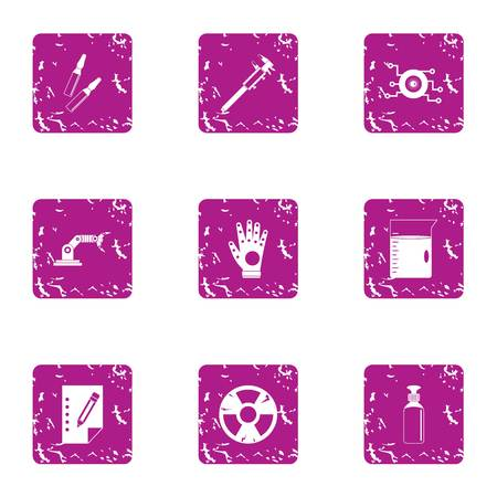 Auspices icons set, grunge style Illustration
