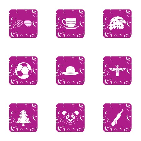 American expanses icons set. Grunge set of american expanses vector icons for web isolated on white background