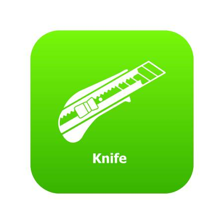 Knife icon green vector Çizim