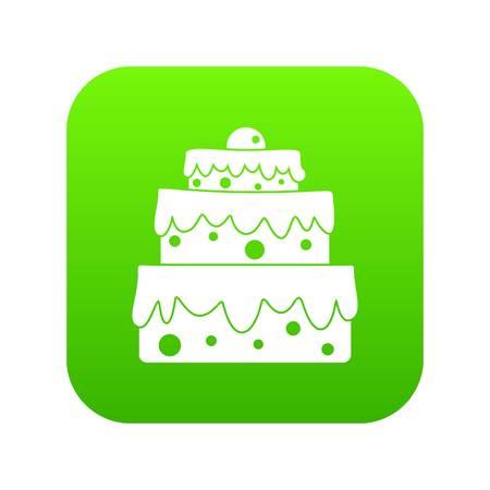 Big cake icon digital green Illustration