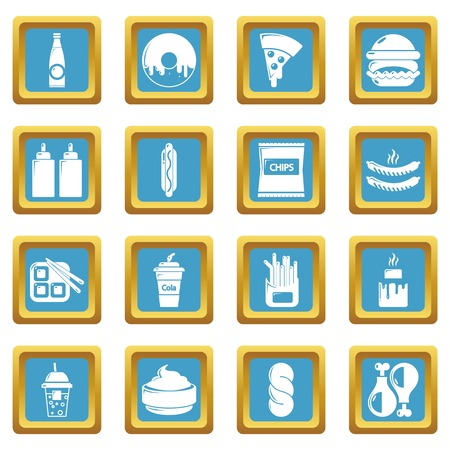 Fast food icons set sapphirine square vector Illustration