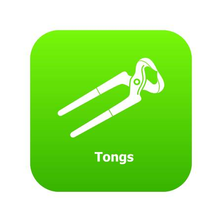 Tongs icon green vector isolated on white background