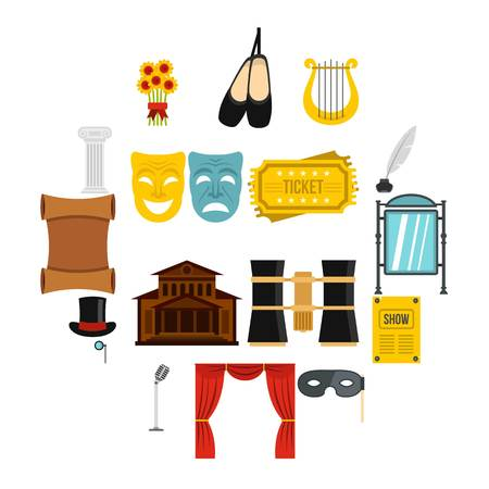 Theater set icons in flat style isolated on white background