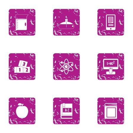 Scholarship icons set. Grunge set of scholarship vector icons for web isolated on white background