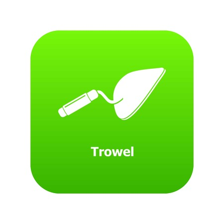 Trowel icon green vector isolated on white background
