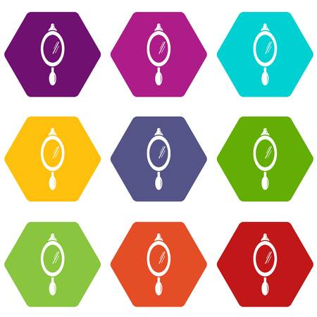 Hand mirror icons 9 set coloful isolated on white for web