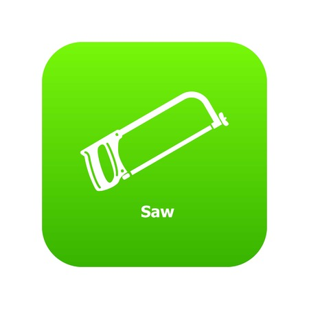 Saw icon green vector isolated on white background