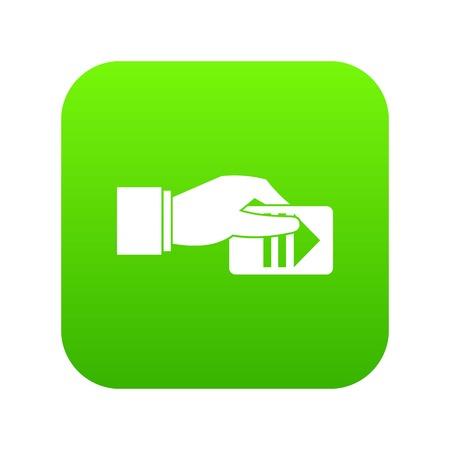 Mano con il miglior prezzo icona digitale verde per qualsiasi design isolato su bianco illustrazione vettoriale