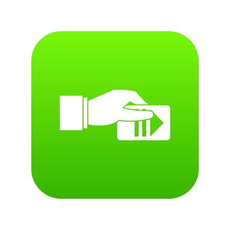 Hand with parking ticket icon digital green for any design isolated on white vector illustration