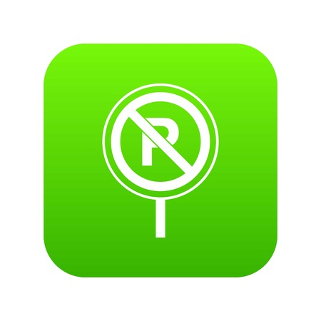 No parking sign icon digital green for any design isolated on white vector illustration Illustration