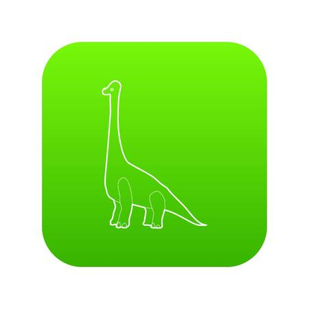 Diplodocus icon green vector isolated on white background