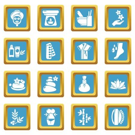Spa salon icons set vector sapphirine square isolated on white background