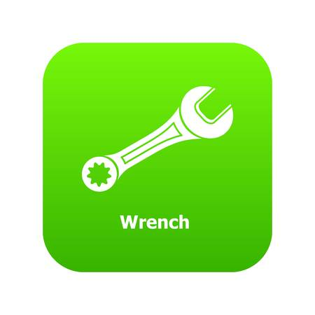 Wrench icon green vector